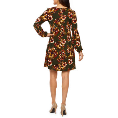 R & K Originals Long Sleeve Floral Shift Dress