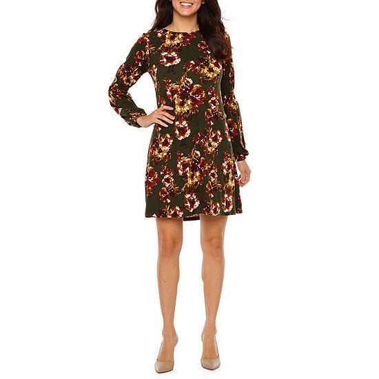 R & K Originals Long Sleeve Floral Shift Dress