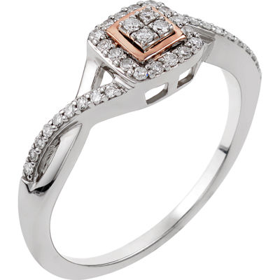 Promise My Love Womens 1/5 CT. T.W. Genuine White Diamond 10K Rose Gold Sterling Silver Promise Ring