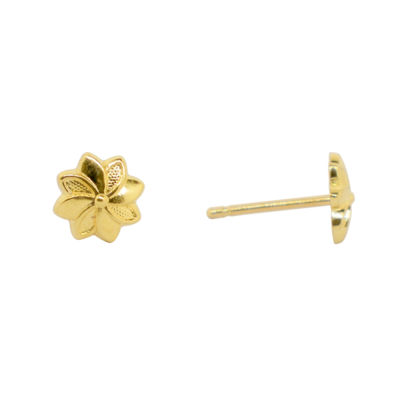 14K Gold 5.5mm Flower Stud Earrings