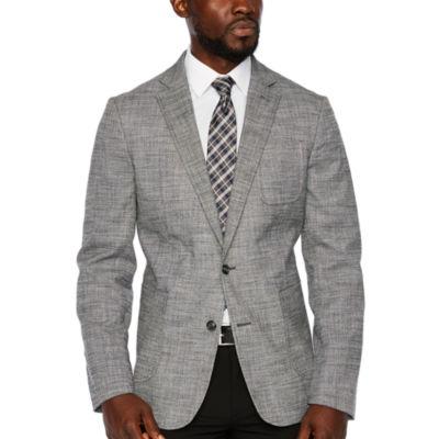 Stafford Merino Flannel Stretch Micro Houndstooth Slim Fit Sport Coat