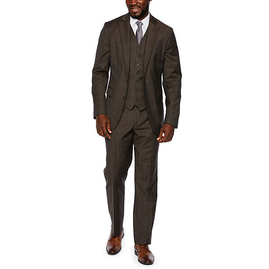 Stafford Travel Brown Windowpane Classic Fit Suit Separates