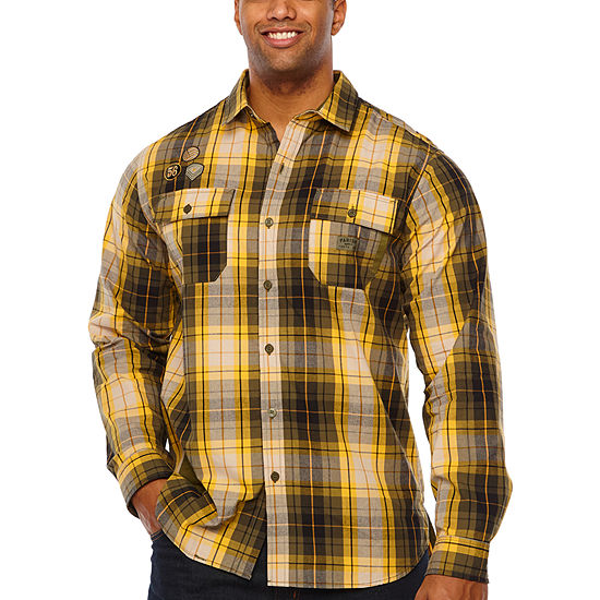 Parish Big and Tall Mens Long Sleeve Checked Button-Front Shirt