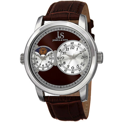 Joshua & Sons Mens Brown Strap Watch-J-114br