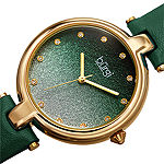 Burgi Set With Swarovski Crystals Womens Crystal Accent Green Leather Strap Watch-B-225gn