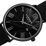 Akribos XXIV Mens Black Leather Strap Watch-A-1041bk
