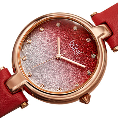 Burgi Womens Red Strap Watch-B-225rd