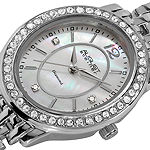 N By Nicole Miller Womens Diamond Accent Silver Tone Bracelet Watch-As-8043ss