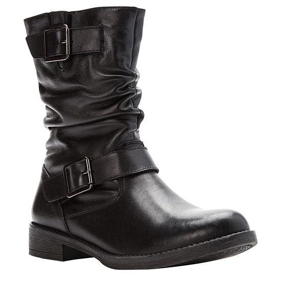 Propet Womens Tatum Slouch Stacked Heel Zip Bootie