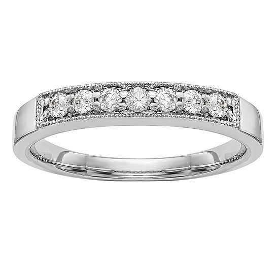 Womens 3.5MM 1/4 CT. T.W. Genuine White Diamond 14K White Gold Wedding Band