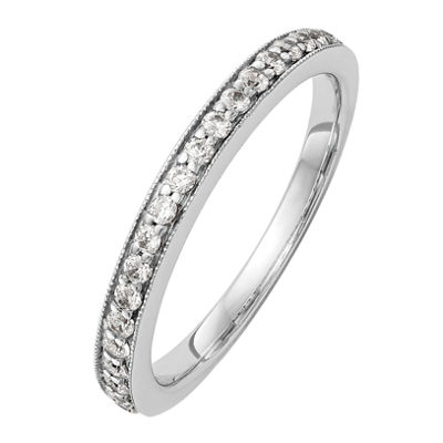 Womens 2.5mm Diamond Accent White Diamond 14K White Gold Wedding Band