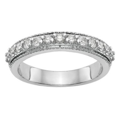 Womens 3.5mm 3/8 CT. T.W. White Diamond 14K White Gold Wedding Band