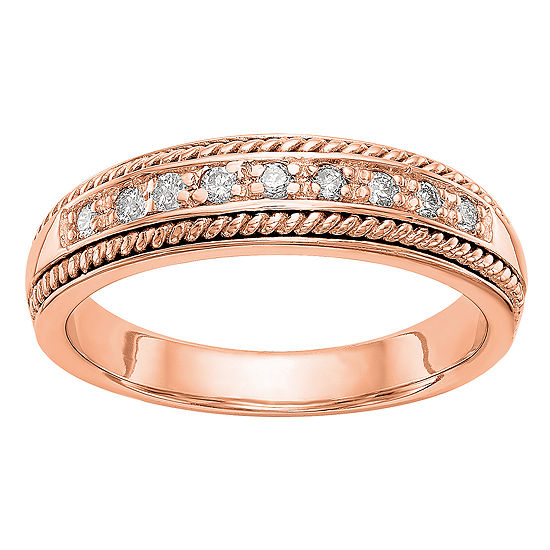 Womens 4.5MM 1/8 CT. T.W. Genuine White Diamond 14K Rose Gold Wedding Band