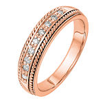 4.5MM 1/8 CT. T.W. Genuine White Diamond 14K Rose Gold Wedding Band