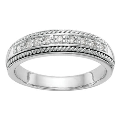 Womens 4.5mm 1/8 CT. T.W. White Diamond 14K White Gold Wedding Band