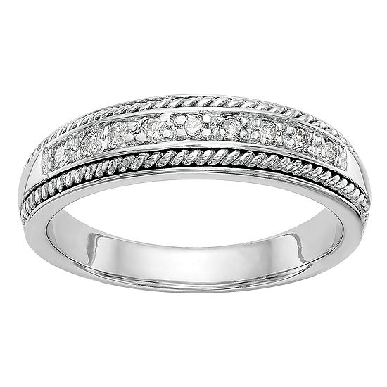 Womens 4.5MM 1/8 CT. T.W. Genuine White Diamond 14K White Gold Wedding Band