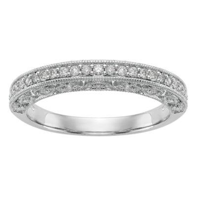 Womens 3.5mm 1/4 CT. T.W. White Diamond 14K White Gold Wedding Band