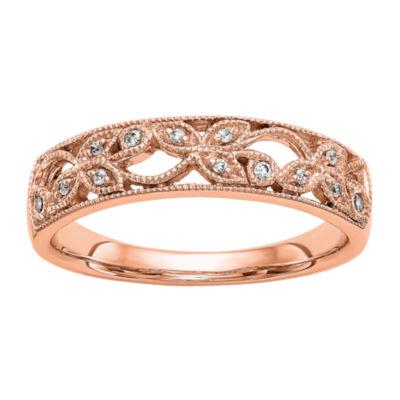Womens 5mm Diamond Accent White Diamond 14K Rose Gold Wedding Band