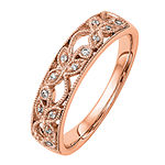 Womens 5MM Diamond Accent Genuine White Diamond 14K Rose Gold Wedding Band