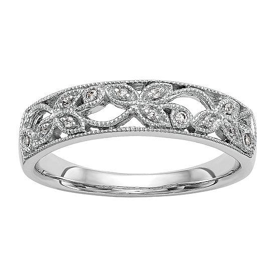 Womens 5MM Diamond Accent Genuine White Diamond 14K White Gold Wedding Band