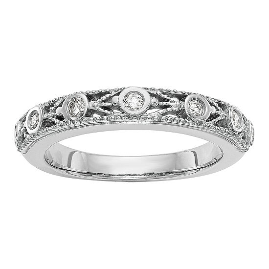 Womens 3.5MM 1/6 CT. T.W. Genuine White Diamond 14K White Gold Wedding Band
