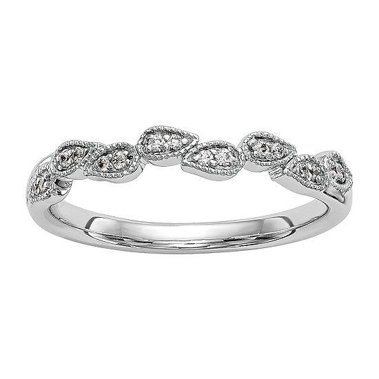Womens 2.5MM Diamond Accent Genuine White Diamond 14K White Gold Wedding Band