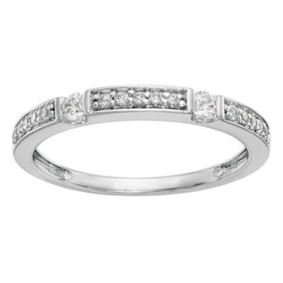Womens 2.5mm 1/5 CT. T.W. White Diamond 14K White Gold Wedding Band