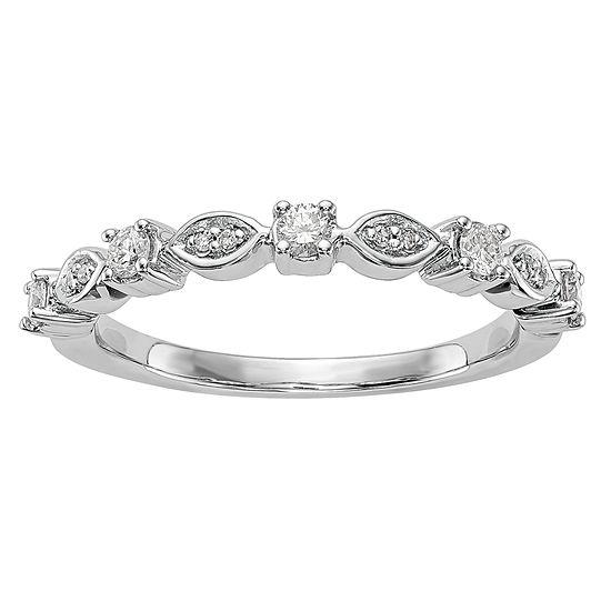 Womens 25mm 1 4 Ct Tw Genuine White Diamond 14k White Gold Wedding Band