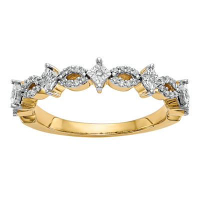 Womens 3mm 1/6 CT. T.W. White Diamond 14K Gold Wedding Band