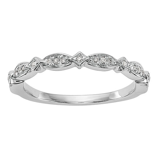 2.5MM Diamond Accent Genuine White Diamond 14K White Gold Wedding Band