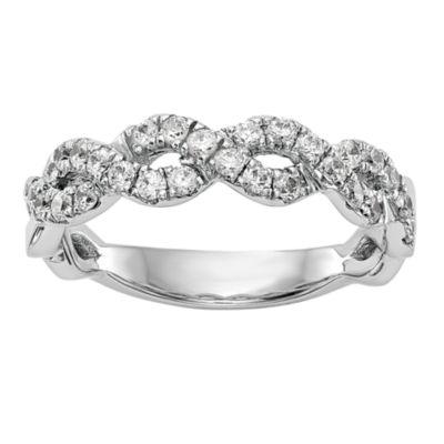 Womens 5.5mm 1/2 CT. T.W. White Diamond 14K White Gold Wedding Band