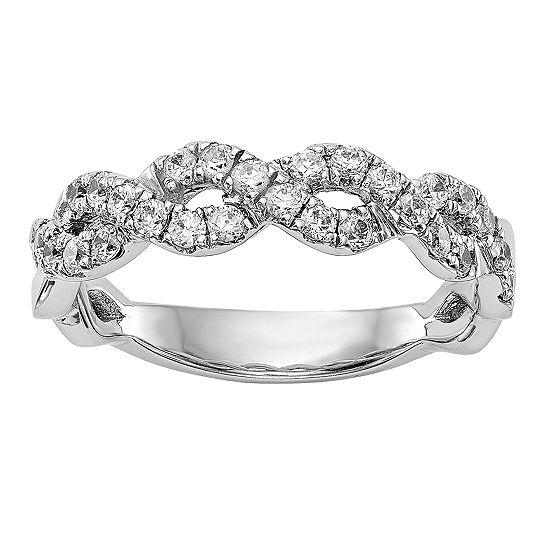 Womens 5.5MM 1/2 CT. T.W. Genuine White Diamond 14K White Gold Wedding Band