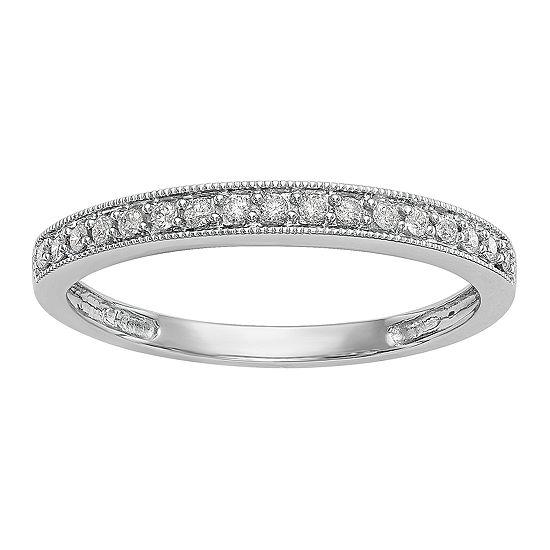 Womens 2.5MM 1/6 CT. T.W. Genuine White Diamond 14K White Gold Wedding Band