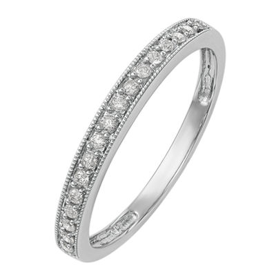 Womens 2.5mm 1/6 CT. T.W. White Diamond 14K White Gold Wedding Band