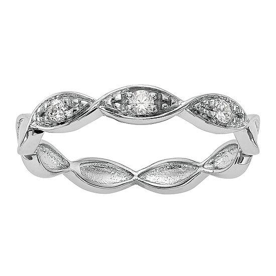 Womens 3.5MM 1/10 CT. T.W. Genuine White Diamond 14K White Gold Wedding Band