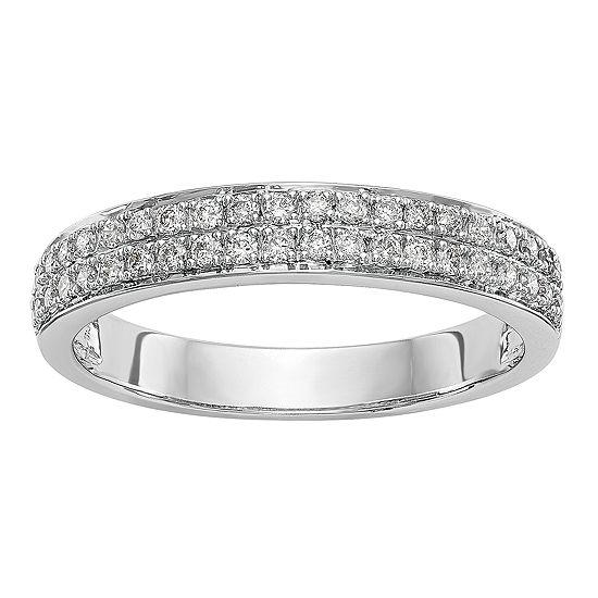 Womens 4MM 1/3 CT. T.W. Genuine White Diamond 14K White Gold Wedding Band