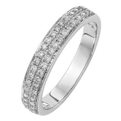 Womens 4mm 1/3 CT. T.W. White Diamond 14K White Gold Wedding Band