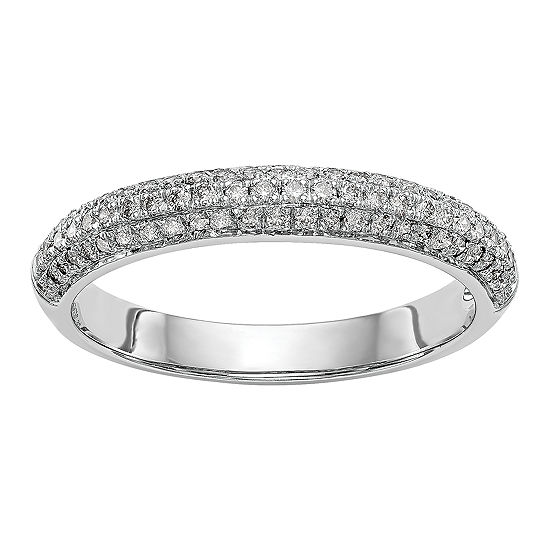 Womens 4MM 1/3 CT. T.W. Genuine White Diamond 14K White Gold Wedding Band