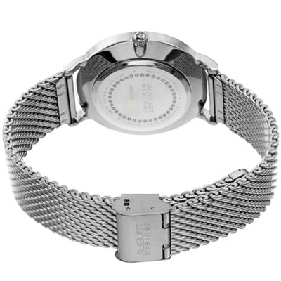 August Steiner Mens Silver Tone Strap Watch-As-8255ss