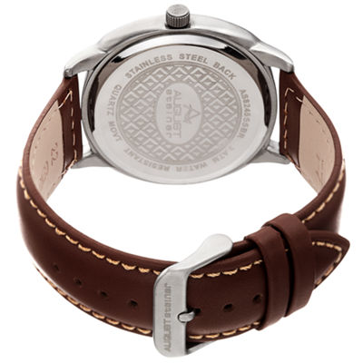 August Steiner Mens Brown Strap Watch-As-8245ssbr