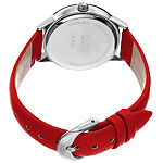Burgi Womens Diamond Accent Red Leather Strap Watch-B-221rd
