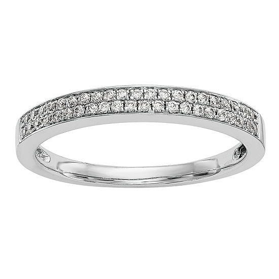 Womens 2.5MM 1/5 CT. T.W. Genuine White Diamond 14K White Gold Wedding Band