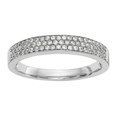 Womens 3.5mm 1/3 CT. T.W. White Diamond 14K White Gold Wedding Band
