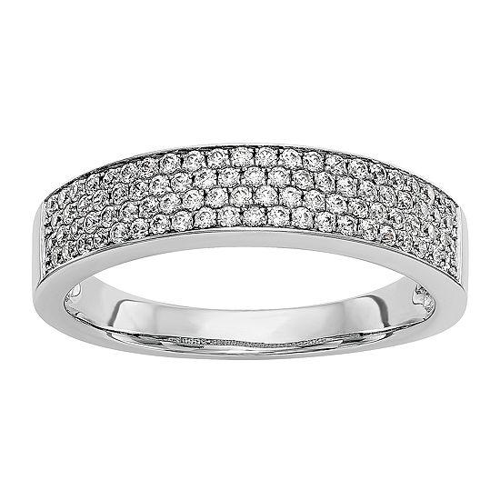 Womens 4.5MM 3/8 CT. T.W. Genuine White Diamond 14K White Gold Wedding Band