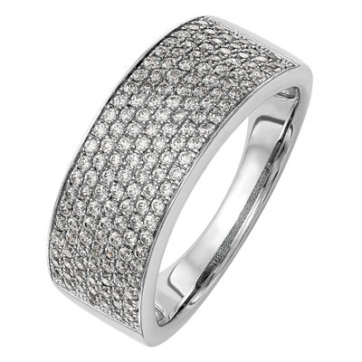 Womens 7.5mm 3/4 CT. T.W. White Diamond 14K White Gold Wedding Band