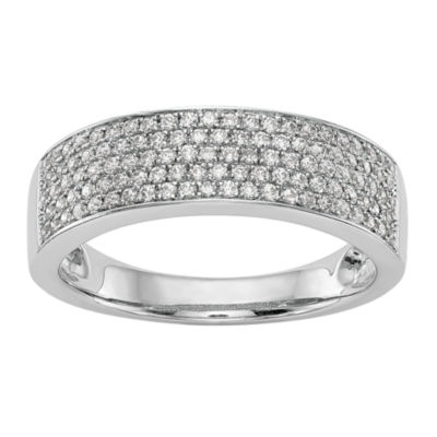 Womens 6mm 1/2 CT. T.W. White Diamond 14K White Gold Wedding Band