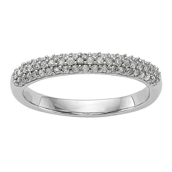 Womens 3MM 1/4 CT. T.W. Genuine White Diamond 14K White Gold Wedding Band