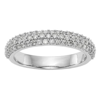 Womens 3.5mm 1/2 CT. T.W. White Diamond 14K White Gold Wedding Band