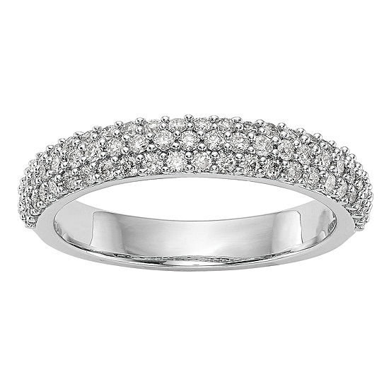 Womens 3.5MM 1/2 CT. T.W. Genuine White Diamond 14K White Gold Wedding Band