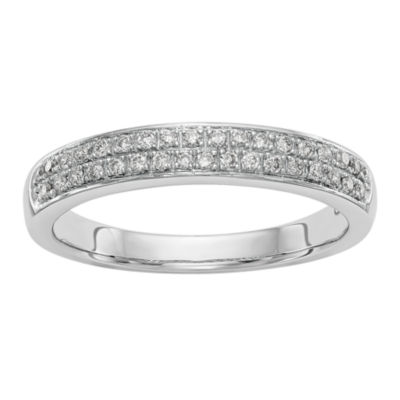 Womens 3.5mm 1/5 CT. T.W. White Diamond 14K White Gold Wedding Band